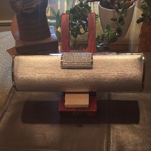 Handbags - Stunning silver & rhinestone & mirror evening bag